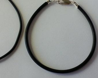 3MM Sterling Silver Natural Rubber Bracelet... choose size