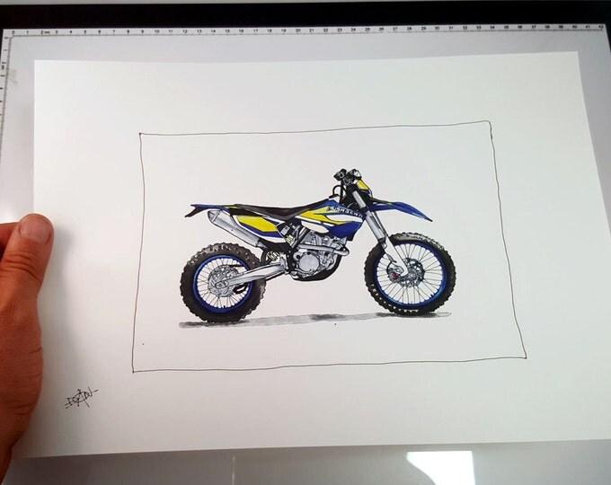 Husaberg Enduro Motorcycle | Fine Art Print | Motorcycle Art | Motorcycle Illustration
