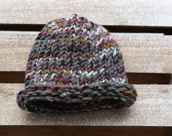 Child's Stocking  Cap with Rolled Brim  -- Hand Knitted on a Circular Loom -- 6-12 Months Size