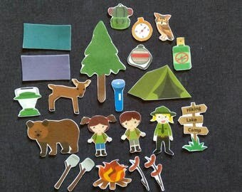 Camping Felt Board Pieces  //Flannel Board //  Felt Board // Overnight // Sleepover // Outdoors