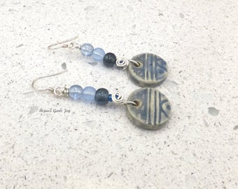 Earrings, Singing the Blues, Ceramic, Sterling Silver, Glass