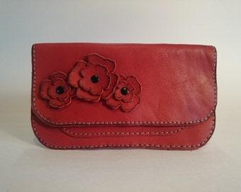 Unique Red Leather Clutch Wallet