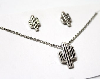 SET Cactus Necklace, Cactus Earrings, Cactus Charm, Antic Silver Cactus, Tiny Cactus Earrings, Dainty Cactus Necklace, Birthday Gift