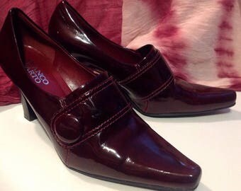 Vintage Franco SARTO/shoes heels tops/High Heel Leather Pump / Patent / patent leather / Burgundy / Size / size 8 M / Glamour Chi