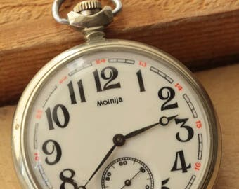 Vintage Molnija Ship Soviet pocket watch 3602 Collecting . Gift For father , husband , grandfather ж