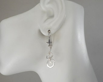 Sterling Silver Swirl Earrings, Made in Montana Gift under 50, Birthday Gift for Her, Abstract Earrings Gift for Wife Hand Forged Earrings