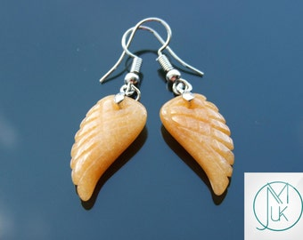 Red Aventurine Angel Wing Gemstone Earrings Natural Quartz Chakra Healing Stone Reiki Healing Stone FREE UK SHIPPING