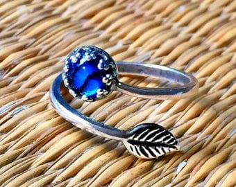Silver Plated Blue PAUA SHELL RING 6mm Crown Adjustable Band Jewelry