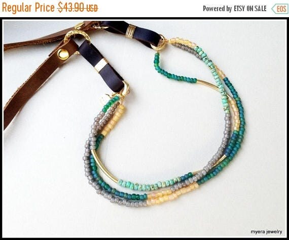 Free Shipping - Leather Bead Necklace, Multi strand necklace, Green Bead Jewelry, mixed jewelry Necklace, Leather Bead Pendant, long Leather