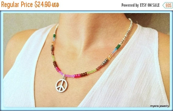 Free Shipping - Flower Power Pendant, Womens Peace Necklace, Spiritual Necklace, CND Peace Necklace, Statement Necklace, Charm Peace Pendant