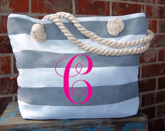 Monogram Tote-Monogrammed Tote-Gray-Monogram-Chevron-Tote Bag-Initialed-for Summer-Personalized-Cruise-Travel-Monogramming-Bridesmaid