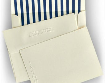 Vertical Name Embossed Correspondence Cards - Personalized Stationery - 2132