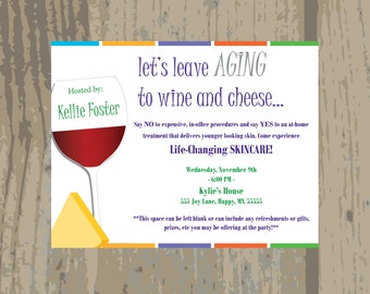 "Rodan and Fields Launch Party Invitation / Rodan + Fields Wine And Cheese Invitation / Printed or Digital File / 5.5"" x 4.25"""
