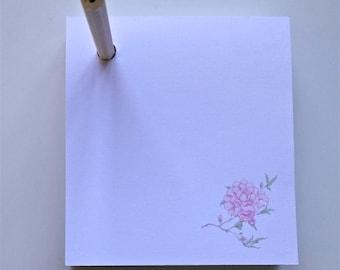 Pencil Pad Note Block, Peony Design