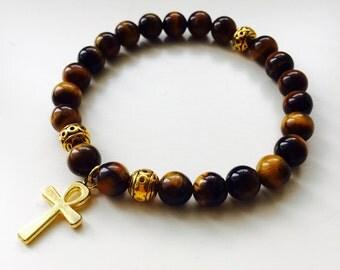 Tigers eye bracelet,bead bracelet,gold ankh  bracelet,gift for him,gift for anniversary,gift for husband,healing bracelet,layering bracelet