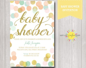 Printable Custom Baby Shower Invitation Neutral Boy or Girl Gold and Colour Polka Dots