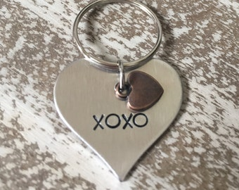 XOXO I love you Custom Hand Stamped Keychain / Charm