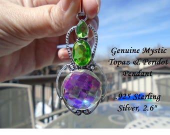 "Genuine Mystic Topaz & Peridot Pendant 2.6"""