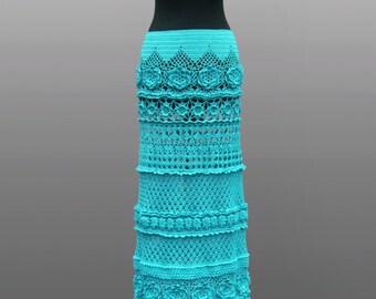 Crochet skirt Noa. Turquoise floor length cotton crochet skirt. Made to order. Free shipping.