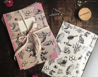 Exercise Books - journals - stationery, pretty notebooks, cute notebooks, botanical notebooks, botanical design, lined notebook, notepad