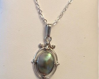 Vintage sterling silver & Dyed Grey Freshwater Half Pearl Dangle Lavalier Pendant, 17.5""