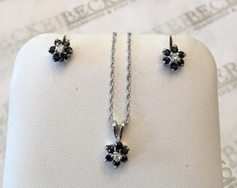 Vintage set of 10k white gold Sapphire and Diamond Flower Cluster Pendant and Stud Earrings with 14k butterfly backs