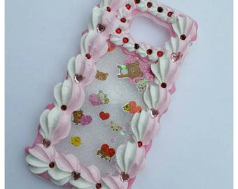 Kawaii Love Bear Holographic Stickers Galaxy S6 Decoden Case - Discounted -