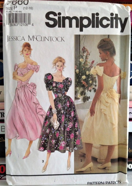 1991 Simplicity Jessica McClintock Pattern 7660 Misses