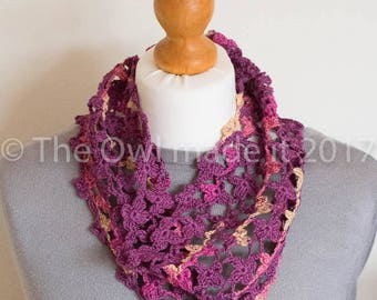 Floral scarf Women's cowl Cotton Scarf Spring Scarf Knitted Circle Scarf Fashion Accessories Easter Gift for her Mother's Day gift UK shop