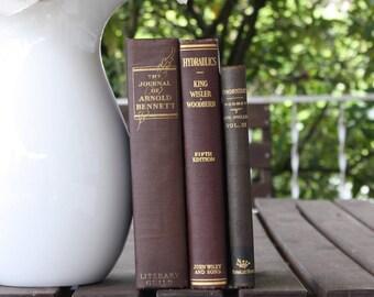Brown Books, Vintage Books, Decorative Books, Antique, Vintage Collection, Book Décor, Wedding Decor, Home Decor, Centerpiece, Office Décor