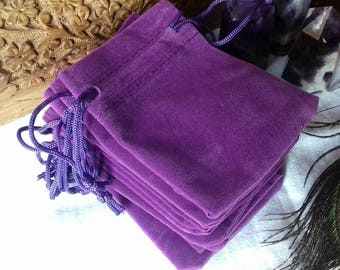 Purple Velvet Luxury Crystal Drawstring Pouches - 7cm x 9cm - Gemstone Gift Bags, Crystal Bags, Jewellery Pouches, Crystal Pendulum Bags