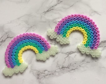 Pastel Rainbow hama flats with Glow-In-The-Dark clouds! Set of 2.