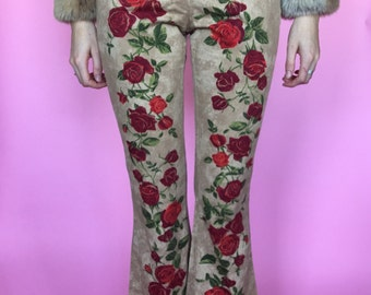 90s Rose Print High Waisted Cropped Flares sz 4/6