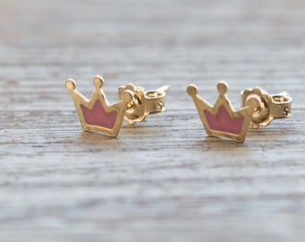 Gold crown earrings crown stud earrings gift for her earrings princess earrings crown studs crown jewelry post dainty earrings 9K 14K 18K