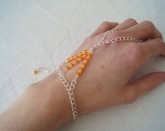 Bead Slave Bracelet, Hand Chain, Beaded Hand Chain, Orange Bracelet, Ring And Bracelet Set, Bracelet With Ring, Bridesmaid Gift, Jewellery