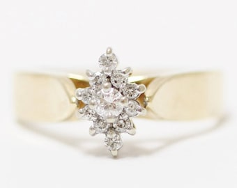 14K Yellow Gold Star Shaped Round Brilliant Diamond Cluster Ring Size 8.25