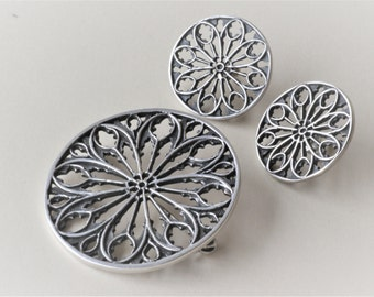 Vintage A.J. Hull,  Norway. Sterling Silver Jewelry Set, Earrings and Brooch Pin.