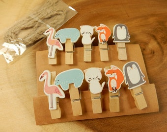 Animal Mini Pegs, 10 Pegs, Decorative Peg Clips, Photo Holders, Flamingo, Bear, Cat, Fox, Penguin, Place Card Holder
