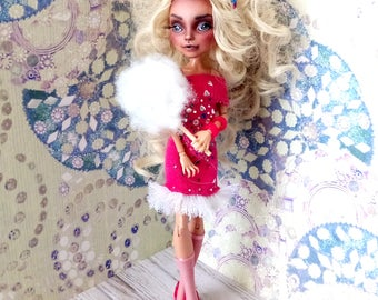 Monster High Repaint, Custom Monster High Doll, OOAK Doll - Candy Doll, Pink Dress - Monster High Doll, Howleen Wolf - Barbie Repaint