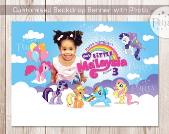 My Little Pony Backdrop Banner with Personalized Photo  (Digital Copy)