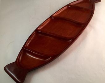 CARIBCRAFT Long Wood Divided Platter - Solid Mahogany - Made in Haiti