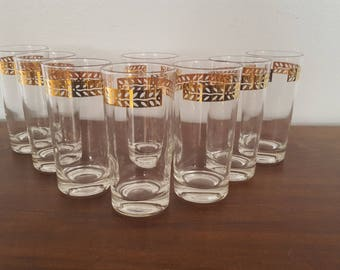 Gold Rimmed Glasses - Set of 8