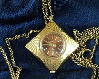 Soviet Russia Pendant Watch AU-5 gold-plated ladies USSR1970s.CHAJKA-mechanism: 17 Jewels. Soviet Union. gold