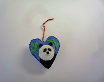 Handmade felt panda  applique  hanging heart