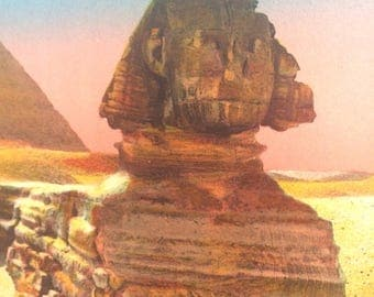 The Sphinx and Pyramids at Giza circa 1920 Hand colored French Travel Litho Print Postcard Arabic Antique Print