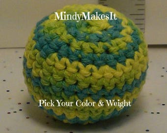 MindyMakesIt - Hacky Sack, (Ombre Colors) Footbag, Hackey Sack, Hackysack, Stress Ball, Juggling Ball, Bean bag, Amigurumi sphere, game, toy