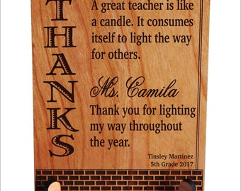 Teacher Appreciation Gift, Student to Teacher Thank You Custom Gift, Personalized Gift to an Awesome Teacher, Teacher's Gift, PLT012