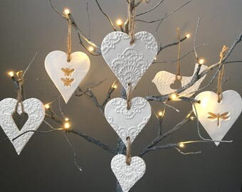 White Glitter Hanging Trio of Hearts, hanging hearts decoration, home decor