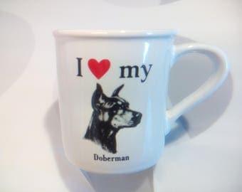 "Vintage ""I Love my Doberman"" Coffee Mug by Papel Inc/Strand Enterprises"