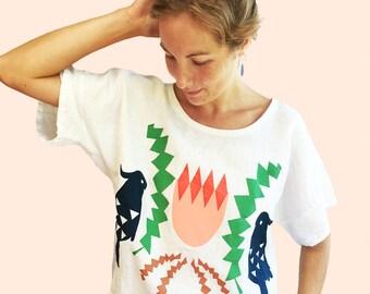 Crowned Banksia 100% linen ladies top